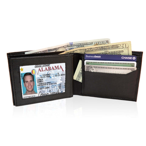 Adorable  Deluxe RFID-Blocking Genuine Leather BiFold - Black