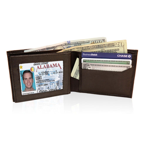 Deluxe RFID-Blocking Genuine Leather BiFold - Brown