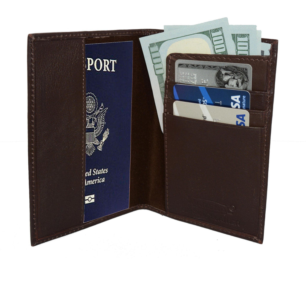 Deluxe RFID-Blocking Soft Leather Passport Case Cover + Wallet - Brown - WholesaleLeatherSupplier.com