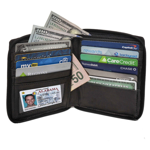 Deluxe RFID-Blocking Genuine Leather European Style Wallet - Black - WholesaleLeatherSupplier.com  - 1