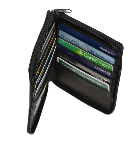 Deluxe RFID-Blocking Genuine Leather European Style Wallet - Black - WholesaleLeatherSupplier.com  - 2