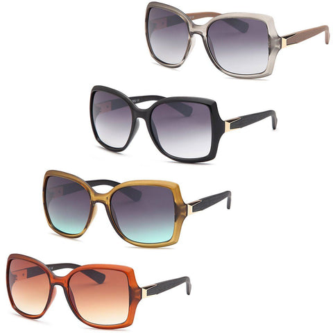 Large Diva Square Frame Sunglasses for women - 4Pack
