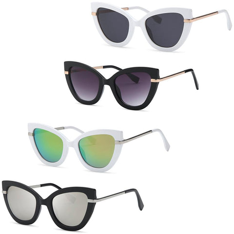 Large Thick Cat eye Metal Sunglasses - Pack of 4