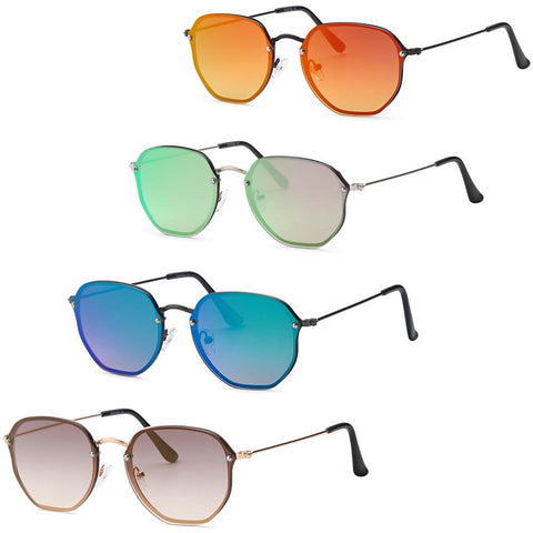 Hexagon Modern Flatlens Sunglasses - Pack of 4