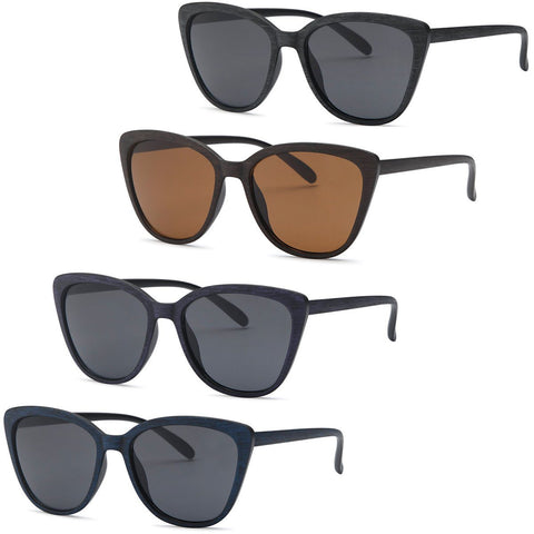 Cat Eye Wood Texture Frame Sunglasses for women - 4Pack