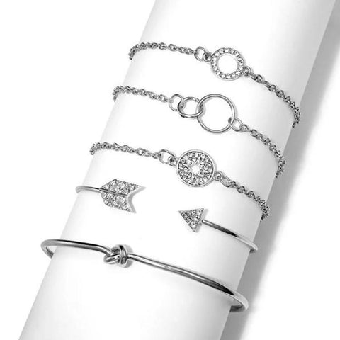 Silver Sparkle of Love Nub 5PC Bracelets