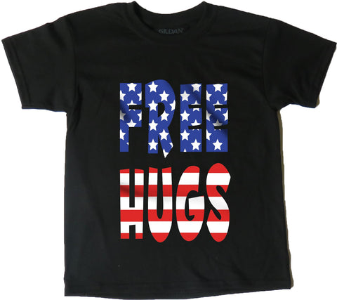 AFONiE USA Flag Free Hugs Kids T-Shirt