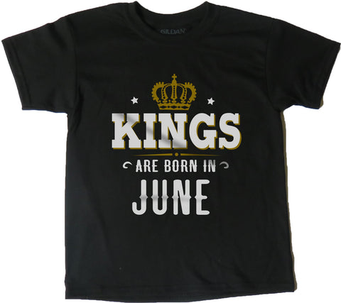 AFONiE Kings Are Born In Kids T-Shirt Black