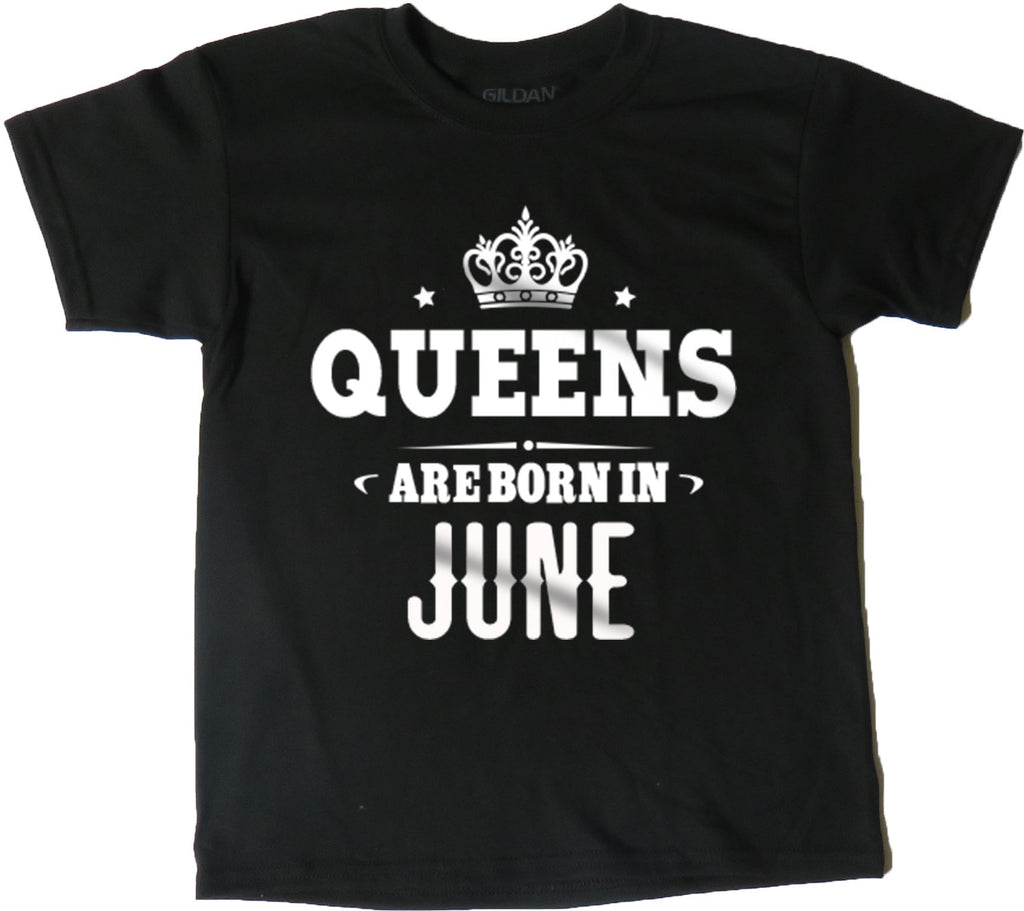 AFONiE Queens Are Born In Kids T-Shirt Black