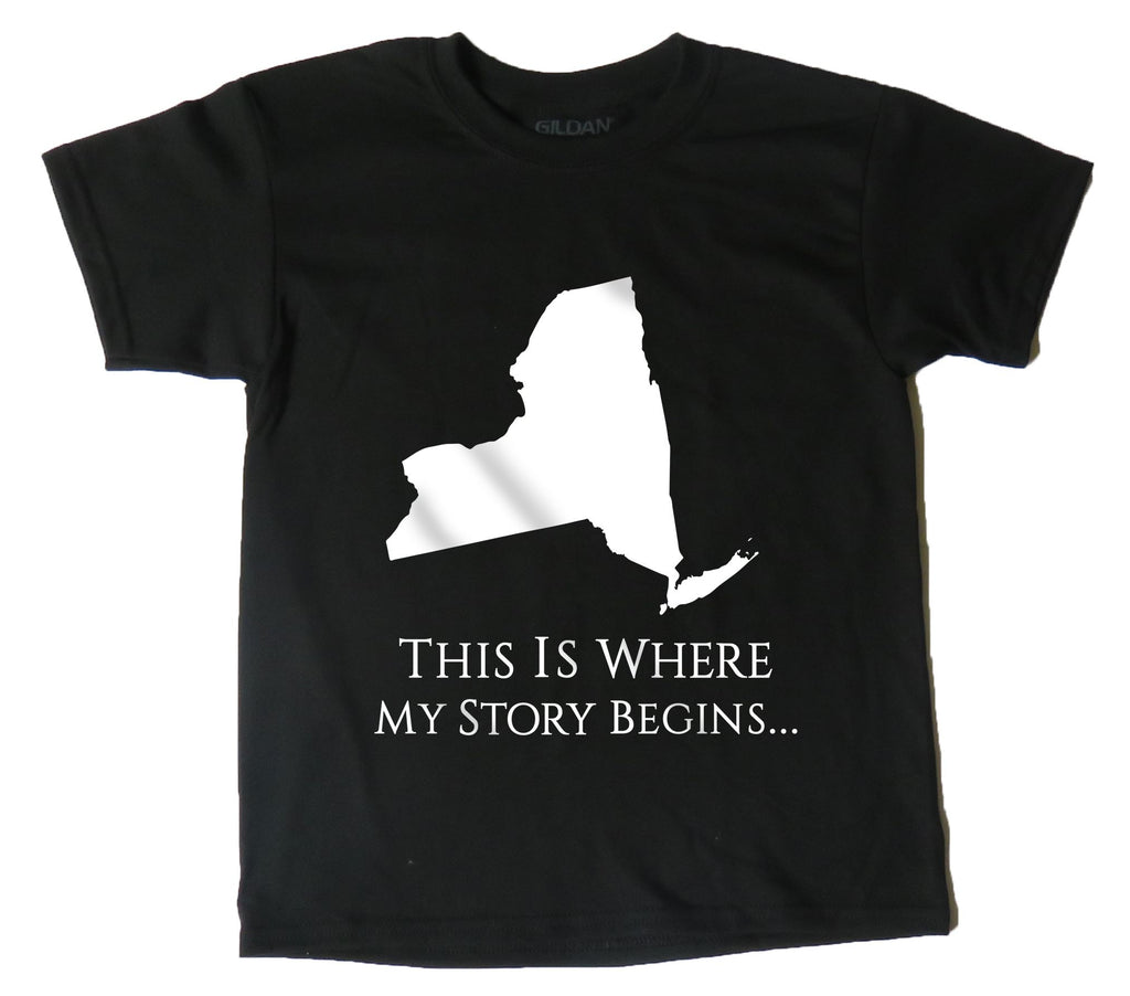 AFONiE Where My Story Begins New York Kids T-Shirt