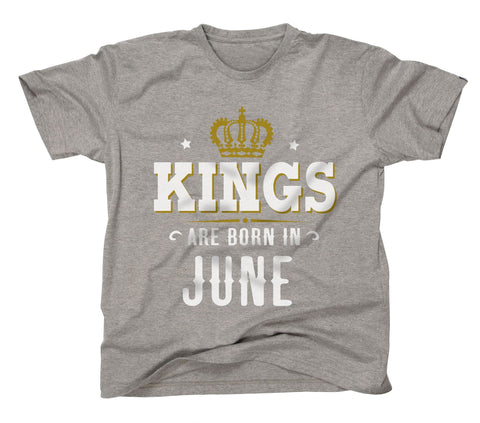 AFONiE Kings Are Born In Kids T-Shirt Gery