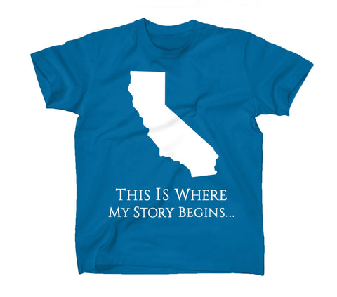 AFONiE Where My Story Begins California Kids T-Shirt