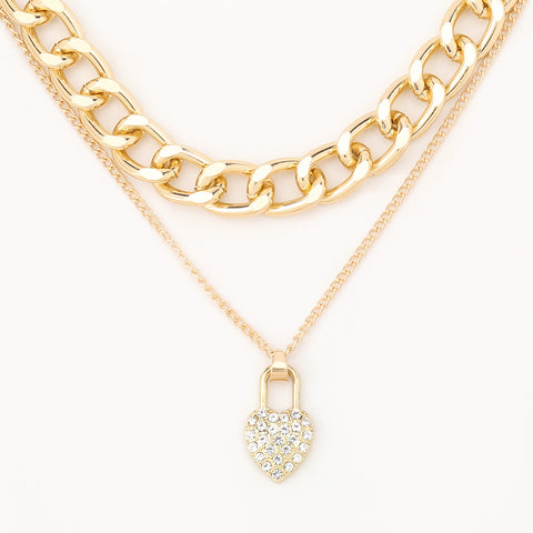 Bold Lock  Love Studded Layered Necklace