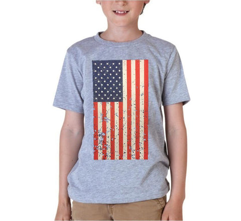 Kids USA Rustic Flag Graphic T-shirt-Grey Color
