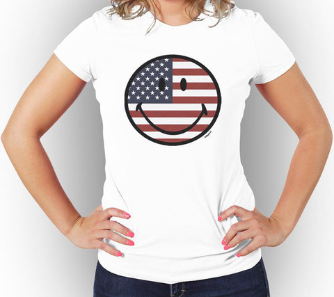 AFONiE US Smile Face Women Graphic T-Shirt