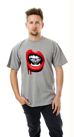 Vampire Diamond Red Lips Men's T-Shirt Big and Tall Sizes