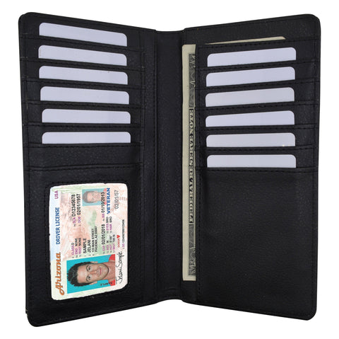 Western Ostrich Pattern Credit Card/Checkbook Holder Black Color Wallet