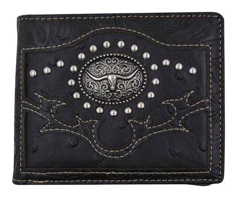 Black Western Ostrich Longhorn Design Men Bi-Fold Wallet