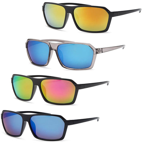 Square Wraparound Style Frame Sunglasses for men - 4Pack