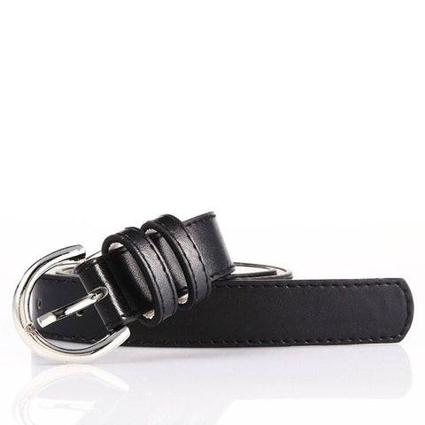Ladies Bonded Leather Belt Top Stitch Rounded Buckle Red Color Belts WholesaleLeatherSupplier.com