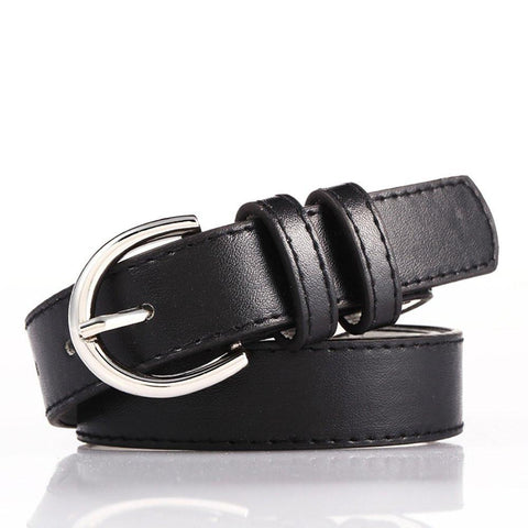 Luxury Genuine Leather Slim Belt - Silver Color