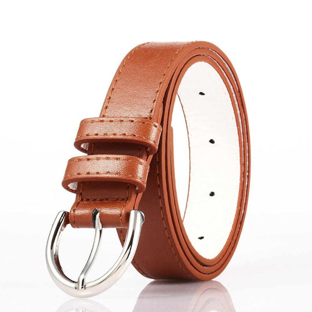 Ladies Bonded Leather Belt Top Stitch Rounded Buckle Espresso Color