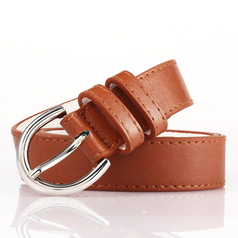 Ladies Bonded Leather Belt Top Stitch Rounded Buckle Black Color - WholesaleLeatherSupplier.com  - 12