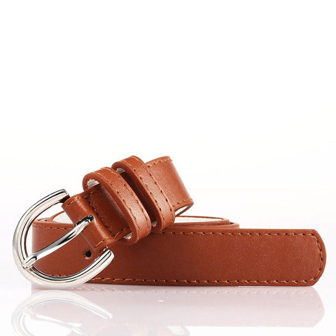 Ladies Bonded Leather Belt Top Stitch Rounded Buckle Gold Color - WholesaleLeatherSupplier.com  - 14