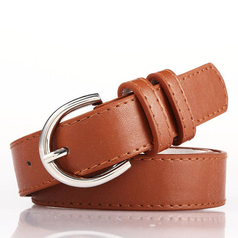 Ladies Bonded Leather Belt Top Stitch Rounded Buckle Espresso Color - WholesaleLeatherSupplier.com  - 11