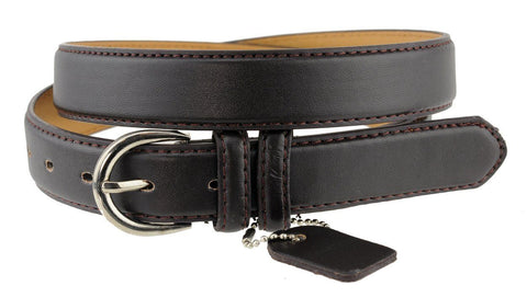 Ladies Bonded Leather Belt Top Stitch Rounded Buckle Black Color