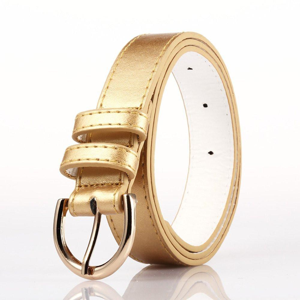 Ladies Bonded Leather Belt Top Stitch Rounded Buckle Gold Color