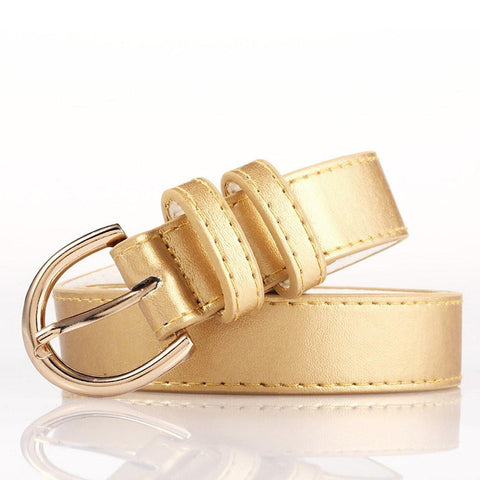 Ladies Bonded Leather Belt Top Stitch Rounded Buckle Red Color - WholesaleLeatherSupplier.com  - 17