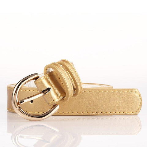 Ladies Bonded Leather Belt Top Stitch Rounded Buckle Navy Blue Color - WholesaleLeatherSupplier.com  - 19
