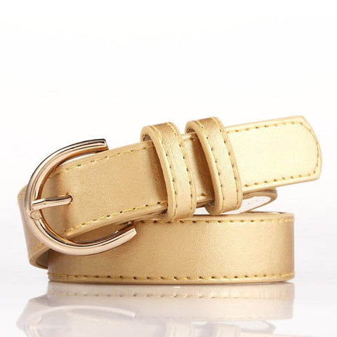Ladies Bonded Leather Belt Top Stitch Rounded Buckle Gold Color - WholesaleLeatherSupplier.com