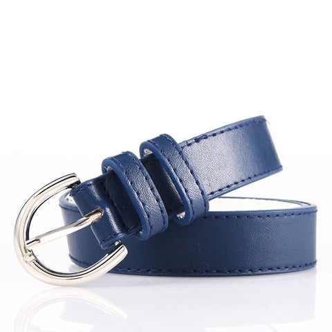 Ladies Bonded Leather Belt Top Stitch Rounded Buckle Navy Blue Color - WholesaleLeatherSupplier.com  - 21