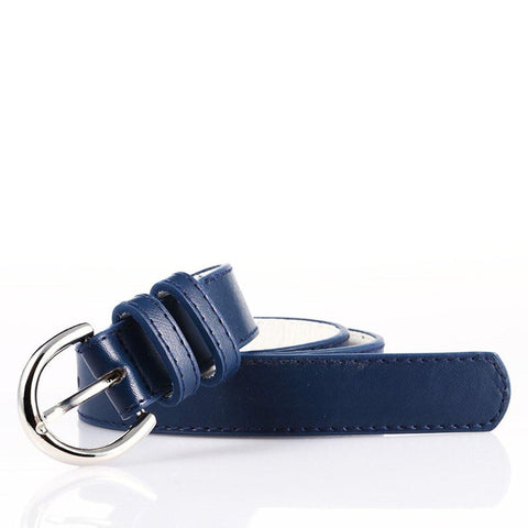 Luxury Genuine Leather Slim Belt - Silver Color - WholesaleLeatherSupplier.com  - 25