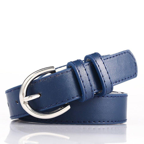 Ladies Bonded Leather Belt Top Stitch Rounded Buckle Navy Blue Color - WholesaleLeatherSupplier.com  - 20