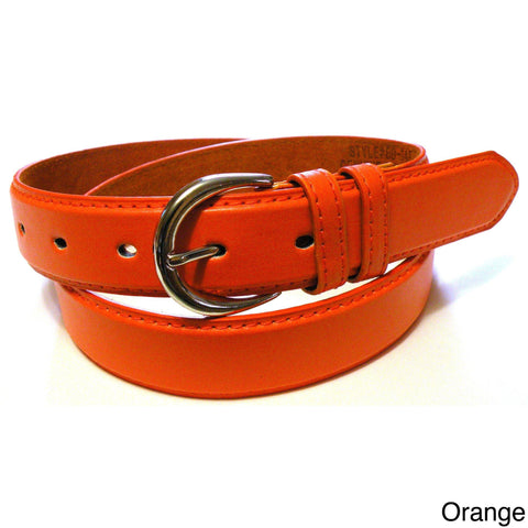 Ladies Bonded Leather Belt Top Stitch Rounded Buckle Espresso Color - WholesaleLeatherSupplier.com  - 30
