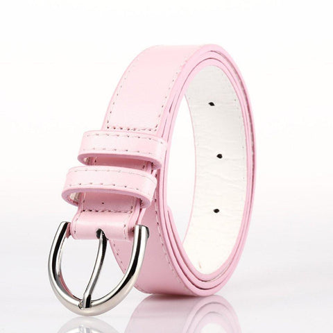 Ladies Bonded Leather Belt Top Stitch Rounded Buckle Gold Color - WholesaleLeatherSupplier.com  - 24