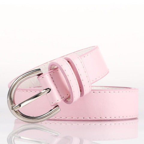 Ladies Bonded Leather Belt Top Stitch Rounded Buckle Red Color - WholesaleLeatherSupplier.com  - 25