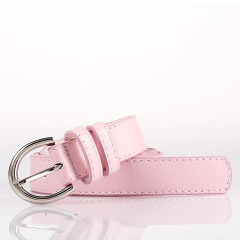 Ladies Bonded Leather Belt Top Stitch Rounded Buckle Red Color - WholesaleLeatherSupplier.com  - 27