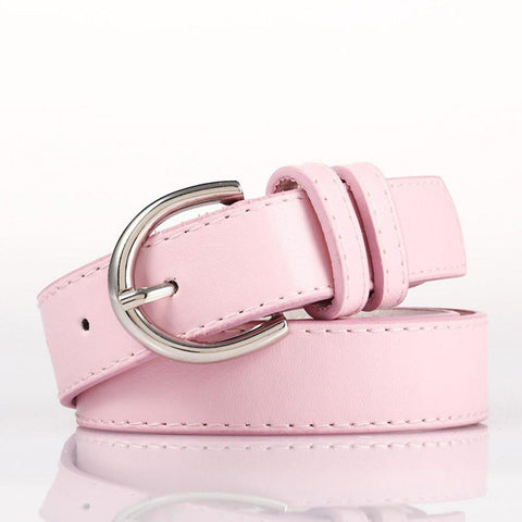 Ladies Bonded Leather Belt Top Stitch Rounded Buckle Black Color - WholesaleLeatherSupplier.com  - 23