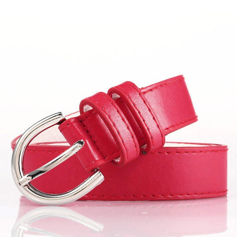 Luxury bonded Leather Slim Belt - Red Color - WholesaleLeatherSupplier.com  - 4
