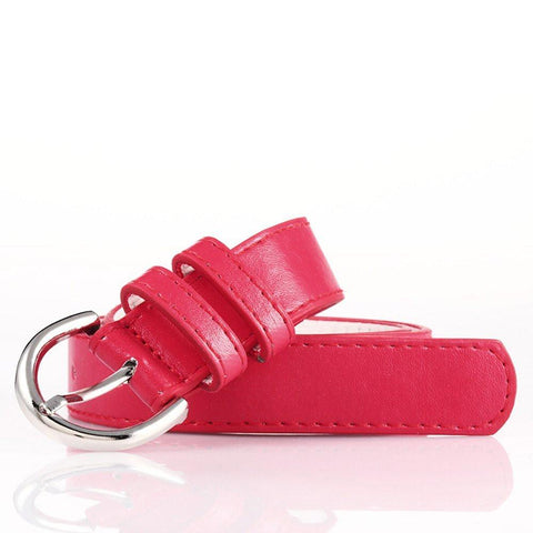 Ladies Bonded Leather Belt Top Stitch Rounded Buckle Red Color