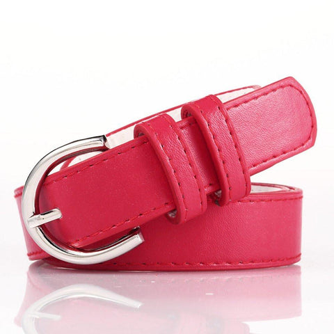 Ladies Bonded Leather Belt Top Stitch Rounded Buckle Red Color - WholesaleLeatherSupplier.com  - 2