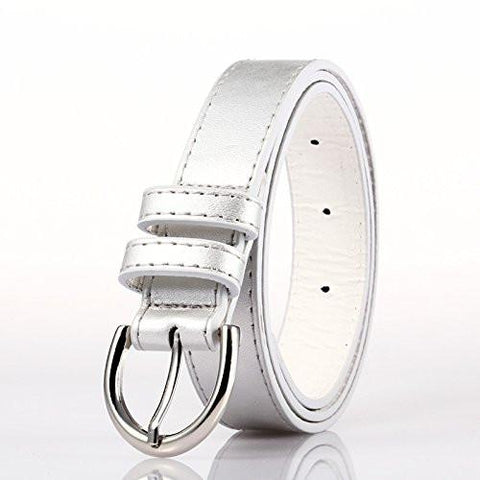 Ladies Bonded Leather Belt Top Stitch Rounded Buckle Navy Blue Color - WholesaleLeatherSupplier.com  - 14