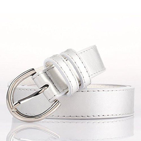 Ladies Bonded Leather Belt Top Stitch Rounded Buckle Gold Color - WholesaleLeatherSupplier.com  - 29