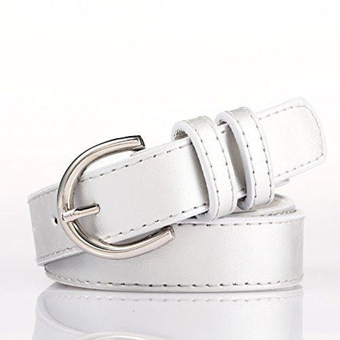 Ladies Bonded Leather Belt Top Stitch Rounded Buckle Red Color - WholesaleLeatherSupplier.com  - 28
