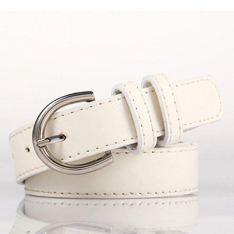 Ladies Bonded Leather Belt Top Stitch Rounded Buckle Gold Color - WholesaleLeatherSupplier.com  - 26