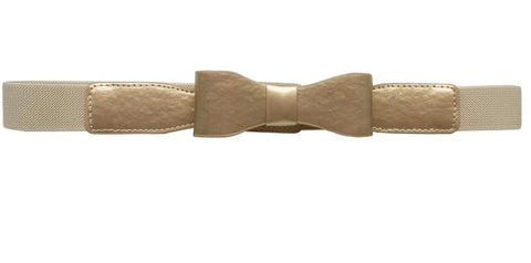 Elastic Women Belt W/Patent Leather Front Bow